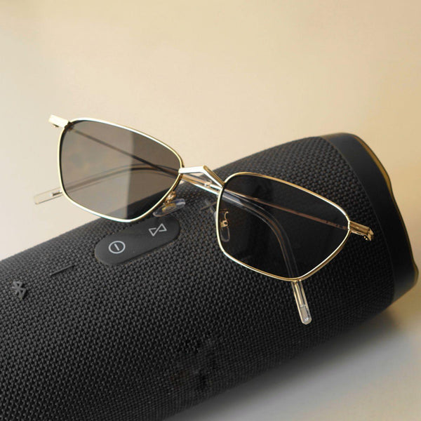 Andreas Gold Black Edition Trapezoid Sunglasses