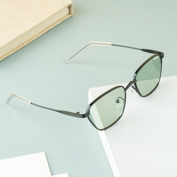 Andreas Black Green Edition Trapezoid Sunglasses