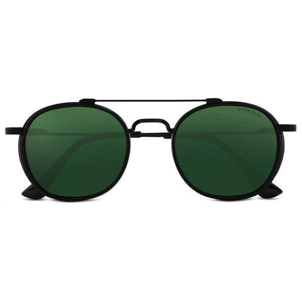 Green And Black S4612 Metal Frame Polarized Round Sunglasses