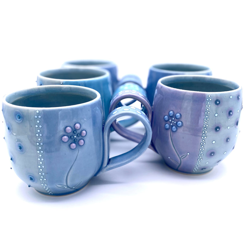 Polka Dot Flower Mugs