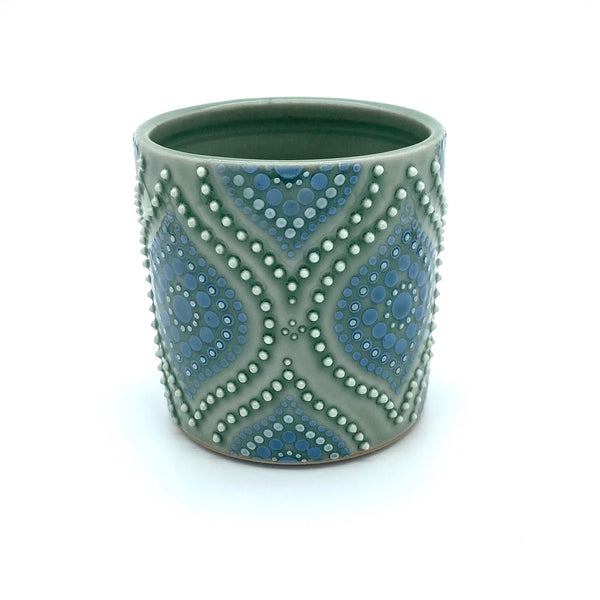 Ogee Green Celadon/ Delphinium Porcelain Cup (small)
