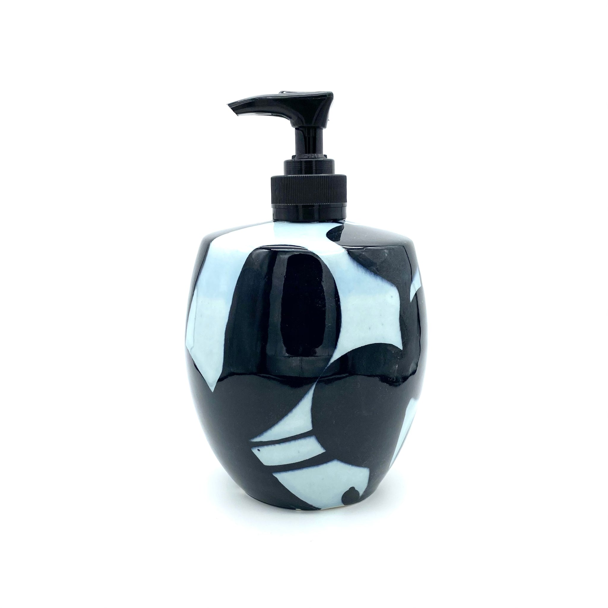 Black Water Carved LARGE Soap Dispenser