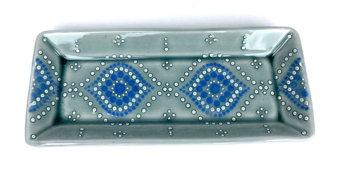 Ogee Blue Celadon/ Dark Teal Rectangle Tray