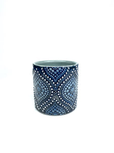 Black & White Ogee Blue Celadon Porcelain Cup (small)