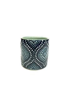 Black & White Ogee Green Celadon Porcelain Cup (small)
