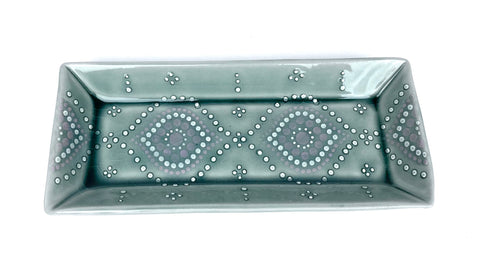 Ogee Blue Celadon/ Lavender Rectangle Tray