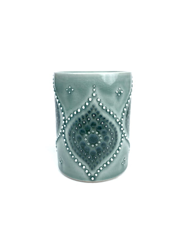 Ogee Dot Blue Celadon  / Sage Grey Porcelain cup (large)