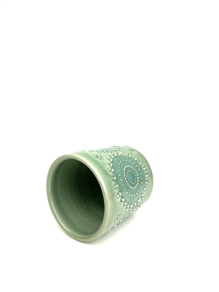 Mandala Green Celadon/ Turquoise Porcelain Cup (small )