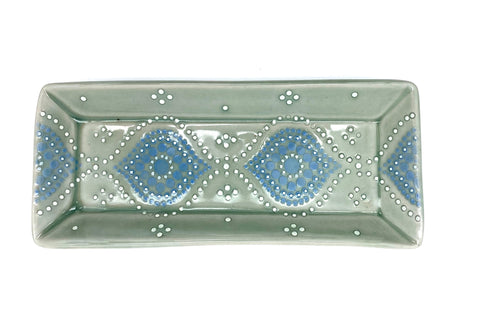 Ogee Green Celadon/ Delphinium Porcelain Rectangle Tray