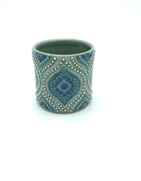 Ogee Green Celadon/ Dark Teal Porcelain Cup ( small )