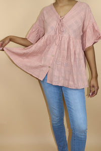 Carnation Pink Baby Doll Button Up