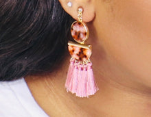 Load image into Gallery viewer, Blush Pink Tasseled Earrings