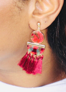 Multi-Red Tasseled Earrings