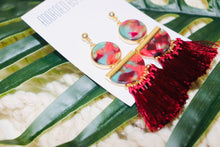 Load image into Gallery viewer, Multi-Red Tasseled Earrings