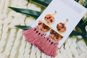 Blush Pink Tasseled Earrings