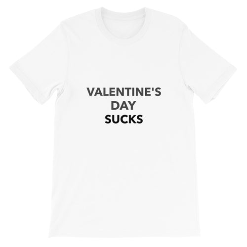 Valentine's Day Sucks Anti-Valentine's Day Short-Sleeve Unisex T-Shirt Tee Available in White, Red, Dark Pink, Light Pink