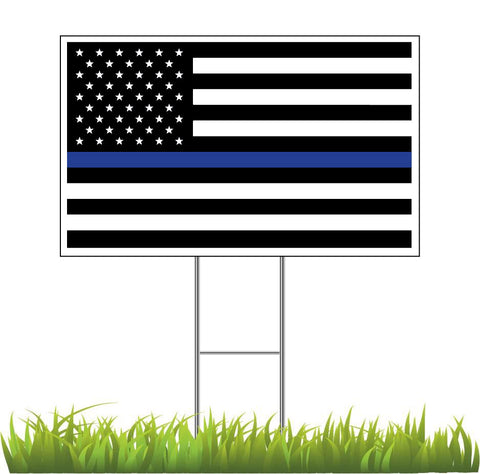 Blue Line Flag In Support of Police Officers