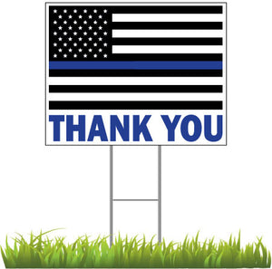 Thank You Police Officers with Blue Line Flag