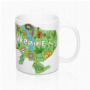 Mug 11oz With Ukrainian map & flag