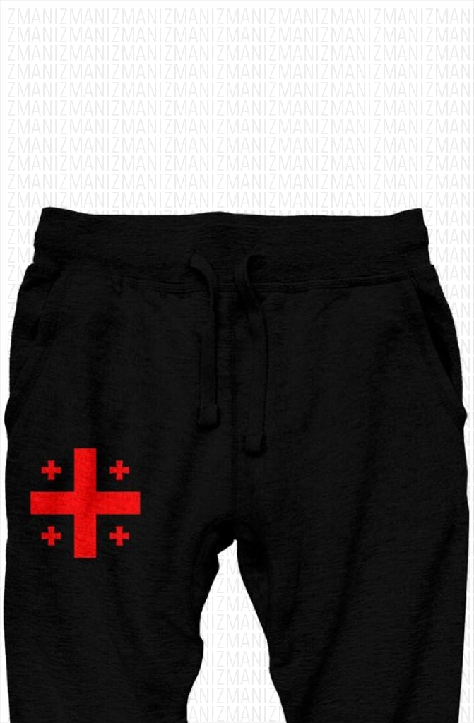 Pants with embroidered Georgian flag