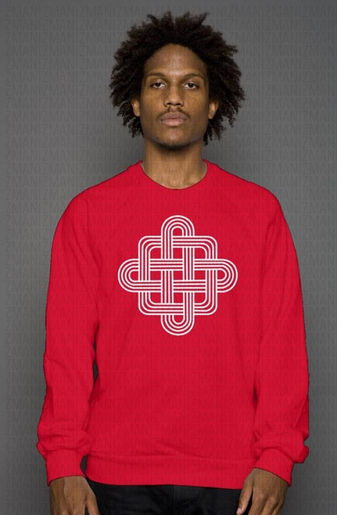 Soft crew neck sweatshirt with Georgian traditional ornament