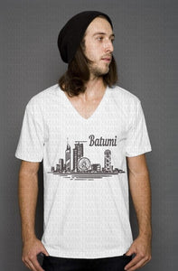 Unisex v-neck printed Georgian city of Batumi's skyline