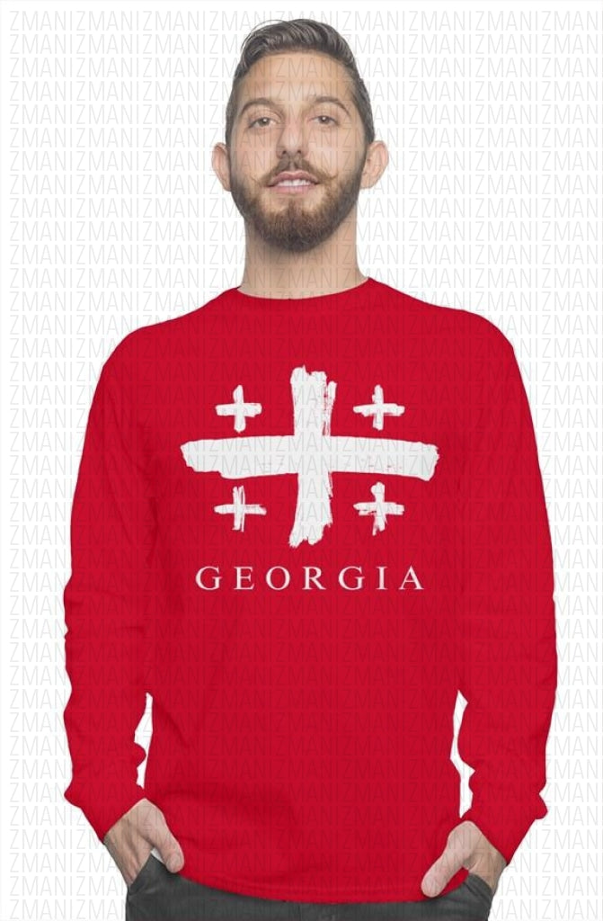 Long sleeve t-shirt with brushed flag of Georgia