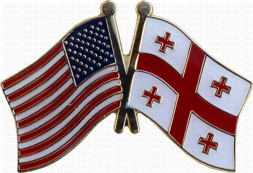 Republic of Georgia & USA Flag Lapel Pin