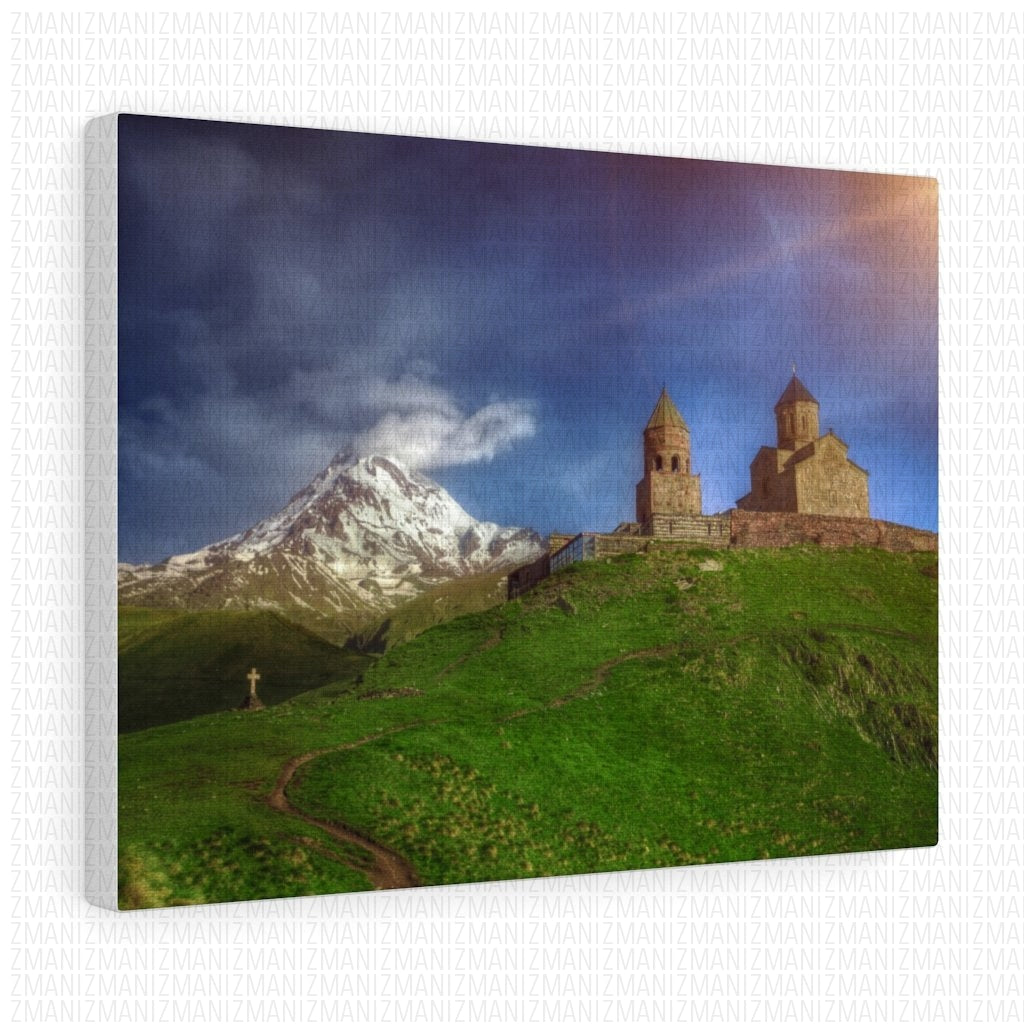 Mount Kazbegi & Gergeti trinity Stretched canvas