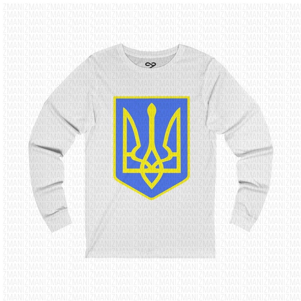 Long Sleeve Tee with Ukrainian Emblem