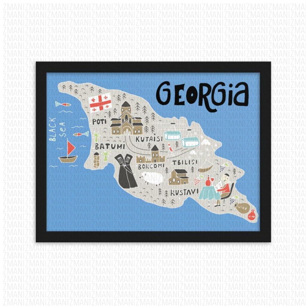 Framed Map Of Georgia matte paper poster
