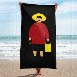 Towel with Niko Pirosmani's Fisherman painting.