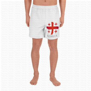Men's Athletic Long Shorts w/ flag of Georgia