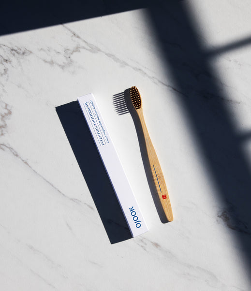 OJOOK bamboo toothbrush is intention setting tool to build healthy daily habits. Made with soft bristle from Asia with a space on the bamboo handle for mindfulness exercises