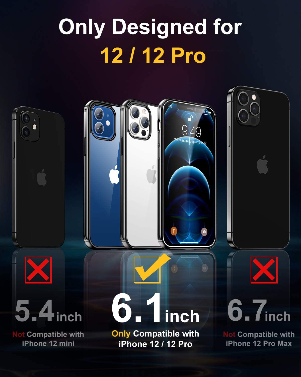 Humixx Compatible for iPhone 12 /12 Pro Case - 6.1 inch, Black