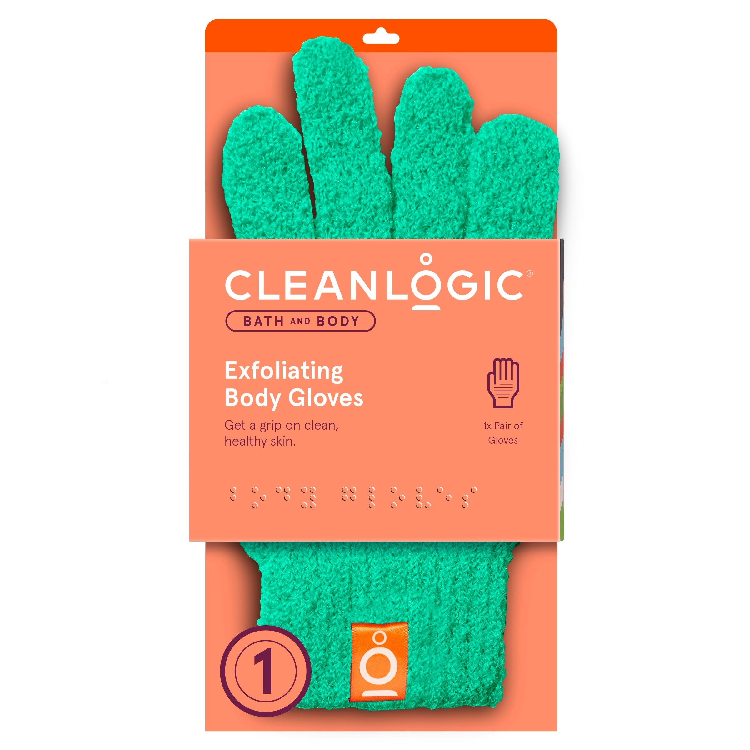 Cleanlogic Bath and Body Exfoliating Body Gloves