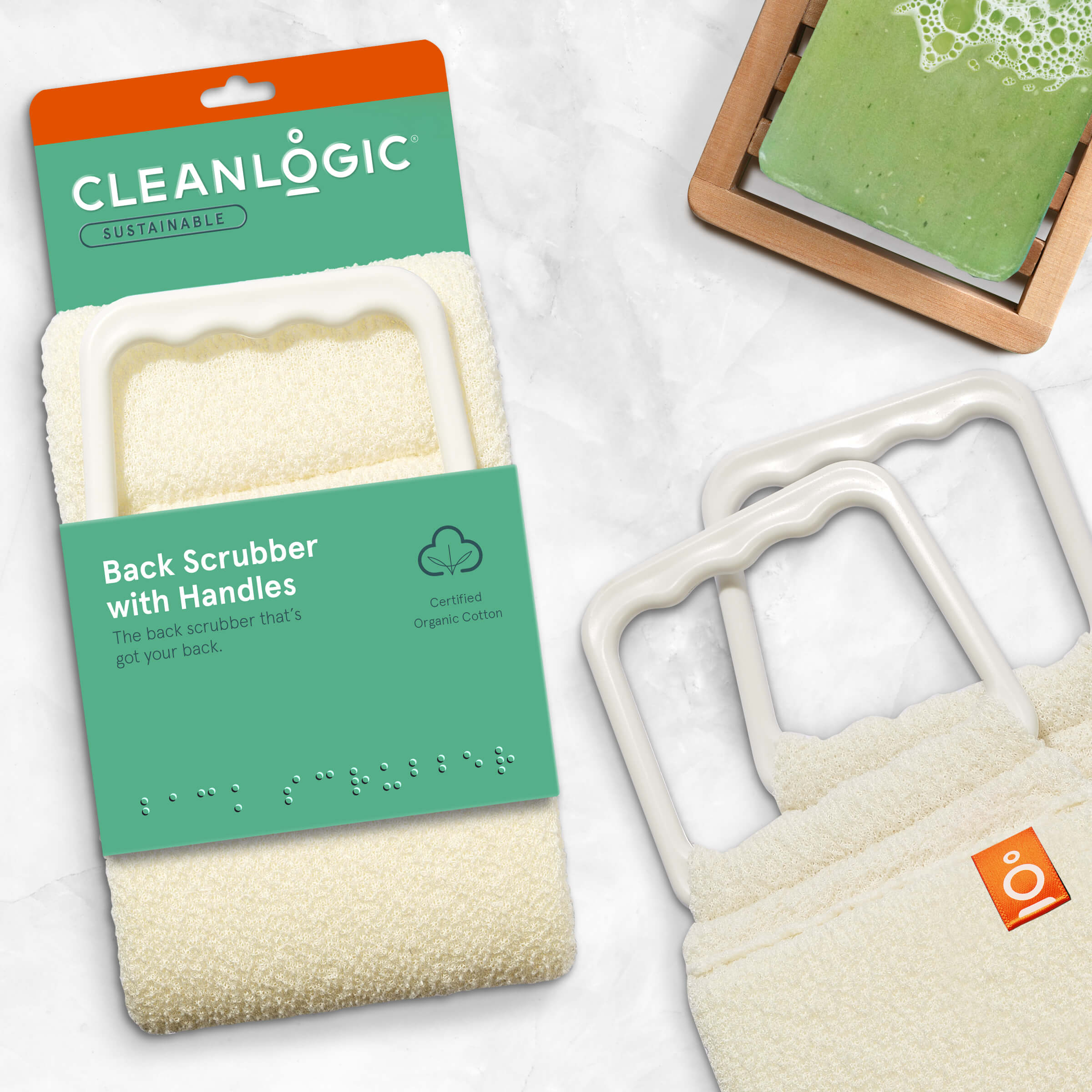 Cleanlogic Sustainable Back Scrubber with Handles
