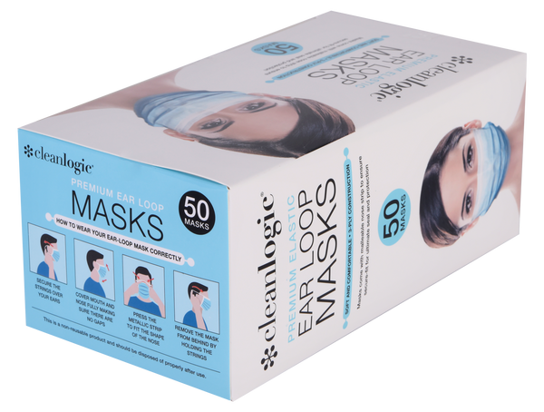 Disposable Face Masks-99% Melt Blown-Premium Elastic Ear Loops-50 Count