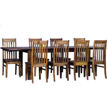 Load image into Gallery viewer, TableChamp Dining Table Set for Eight Rio Pine with Extensions Included with 8X Chair Dark Brown Solid Wood - Five Different Sizes - TableChamp