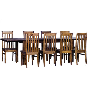 TableChamp Dining Table Set for Eight Rio Pine with Extensions Included with 8X Chair Dark Brown Solid Wood - Five Different Sizes - TableChamp