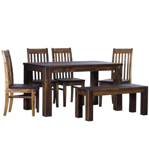 TableChamp Dining Table Set for Six Rio Pine with Bench and Four Chairs Solid Pine Wood Oak Antique Dark Brown - Five Different Sizes - TableChamp