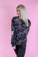 Load image into Gallery viewer, It's a Mood Black Reverse Marble Tie Dye Crewneck Sweatshirt