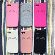 Cute 3D Silicone Cartoon Cat Pink Black Soft Phone Case Cover Coque Fundas For iPhone 7 7Plus 6 6S 5S SE X XS Max