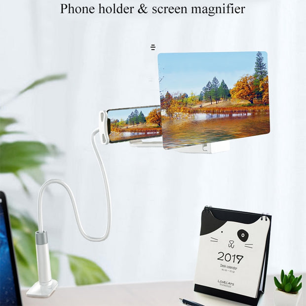 Mobile Phone High Definition Projection Bracket Adjustable Flexible All Angles Phone Tablet Holder 3D HD Screen Magnifier-Black 8inch-The Mobi World