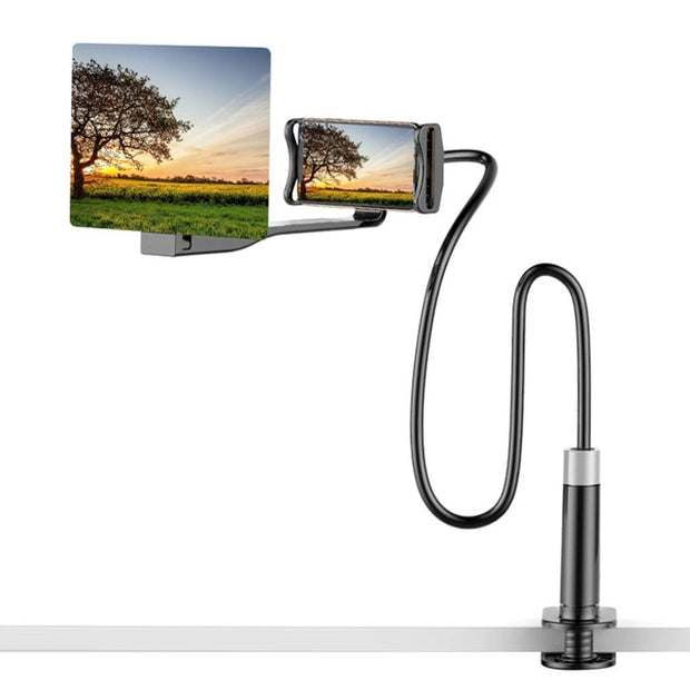 Mobile Phone High Definition Projection Bracket Adjustable Flexible All Angles Phone Tablet Holder 3D HD Screen Magnifier-Black 12inch-The Mobi World