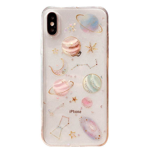 Luxury Glitter Cute Space Planet Phone Case For iPhone X XR XS MAX 7 8 Plus Clear Soft Silicone Back Cover For iPhone 6 6S 7Plus