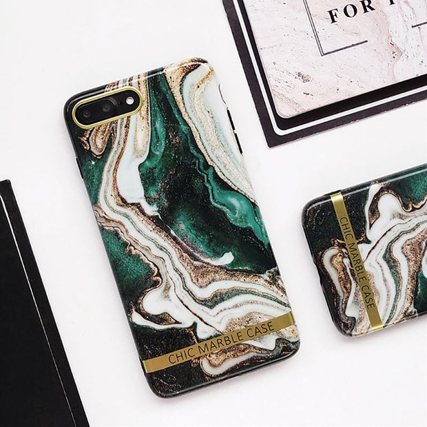 Artistic Agate Marble Gold Bar Phone Case For iphone XS XR XS Max 6 6S 7 8 Plus Glossy soft silicon Case