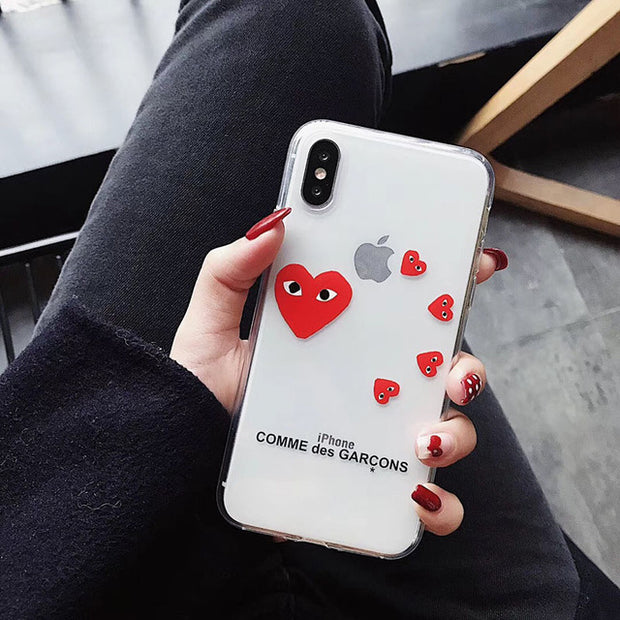 Play Comme Des Garcons Transparent Soft Cover case for iphone 6 plus 7 7plus 8 8plus X XR XS MAX
