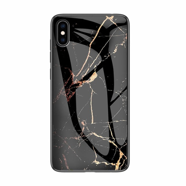 Luxury Marble Phone Case for iPhone X Xs Max Glass PC pigeon Back Cover Silicone Soft Edge Coque Case for iPhone XS Max XR Case