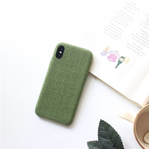 Canvas Cloth Texture Leather Soft TPU case For iphone X XR XS XS Max soft Silicone Case For iPhone 6 6s 7 8 7plus cover